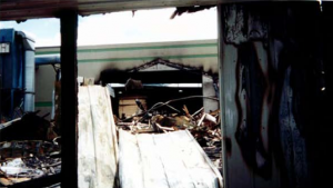 Aftermath of fire at the tilt-up facility showing damage to wooden vs. tilt-up buildings.