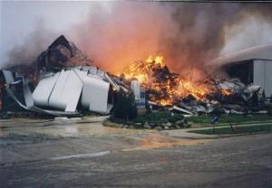 Fire in progress at cold storage facility.